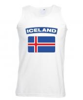 Singlet-shirt tanktop ijslandse vlag wit heren trend