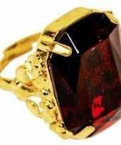 Sinterklaas verkleed ring goud rood rechthoekig voor heren trend