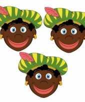 Sinterklaas zwarte pieten maskers setje 3 stuks trend 10096305