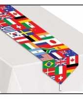 Smal tafelkleed met wereld vlaggen trend