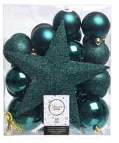 Smaragd groen kerstballen pakket met piek 33 stuks trend