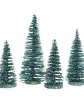 Smaragd kleine groene kunst kerstboom glitter 15 cm 4 stuks trend