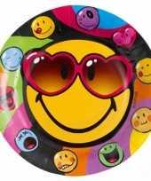 Smiley feestbordjes 8 stuks trend