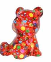 Spaarpot beer rood met snoepjes print 16 cm trend