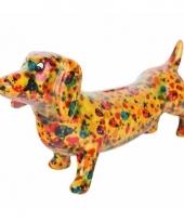 Spaarpot hond teckel 19 cm geel trend