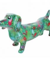 Spaarpot hond teckel 19 cm groen trend