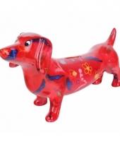 Spaarpot hond teckel 19 cm rood type 1 trend