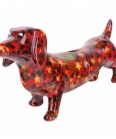 Spaarpot hond teckel 19 cm rood type 2 trend