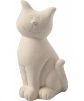 Spaarpot kat wit terracotta trend