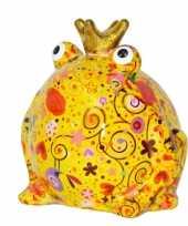 Spaarpot kikker met kroontje geel 16 cm trend
