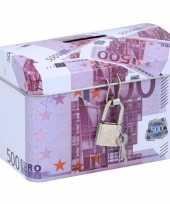 Spaarpot kistje 500 euro biljet 11 x 8 cm trend