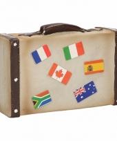 Spaarpot koffer met landenvlaggen trend