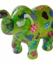 Spaarpot olifant groen met hartjes 20 cm trend