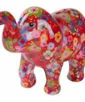 Spaarpot olifant rood met bloemen 20 cm trend