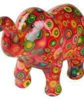 Spaarpot olifant rood met cirkels 20 cm trend
