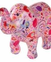 Spaarpot olifant roze met bloemen 20 cm trend