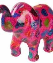 Spaarpot olifant roze met hartjes 20 cm trend