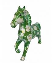 Spaarpot paard 21 cm groen bloemen trend