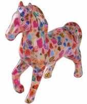 Spaarpot paard 21 cm roze hartjes trend