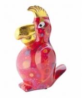 Spaarpot papegaai 22 cm rood trend