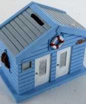 Spaarpot strandhuis blauw 13 cm trend