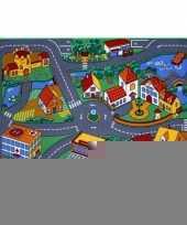 Speel tapijt dorp met wegen 95 x 133 cm trend