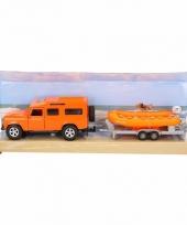 Speelgoed auto land rover oranje met boot trend