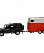 Speelgoed auto land rover zwart met trailer trend