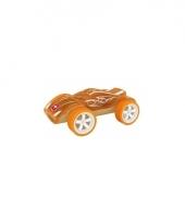 Speelgoed autootje racewagen bamboe 8 cm trend 10077384