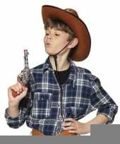 Speelgoed cowboy revolver pistool zilver 20 cm trend