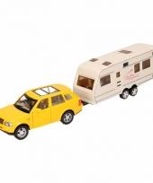 Speelgoed gele land rover auto met caravan 1 48 trend