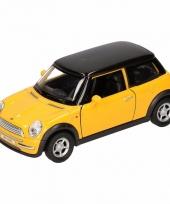 Speelgoed gele mini cooper auto 11 cm trend