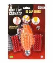 Speelgoed handgranaat met plaffertjes met 96 schoten oranje 14 c trend