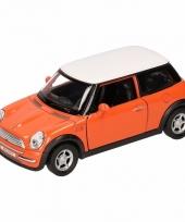 Speelgoed oranje mini cooper auto 11 cm trend