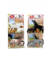 Speelgoed paarden bruin wit met veulen en hond trend
