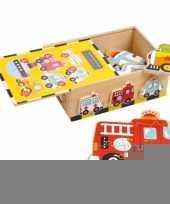 Speelgoed puzzels in houten box 6 stuks trend