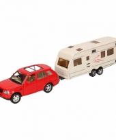 Speelgoed rode land rover auto met caravan 1 48 trend
