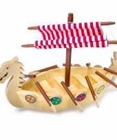 Speelgoed viking schip van hout trend