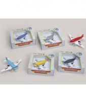 Speelgoed vliegtuig blauw 15 cm trend