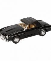 Speelgoed zwarte mercedes benz 190sl 1955 dichte cabrio 15 cm trend