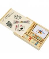 Spellenbox van hout met 4 spellen trend