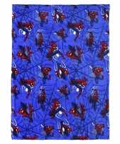 Spiderman flanellen fleecedeken plaid blauw 120 x 160 cm trend
