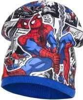 Spiderman fleece muts blauw voor jongens trend