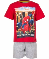 Spiderman korte pyjama jongens rood trend