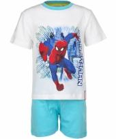 Spiderman korte pyjama jongens wit trend