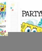 Spongebob thema uitnodigingen 6 stuks trend