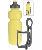 Sportfles met houder geel 750 ml trend