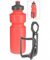 Sportfles met houder rood 750 ml trend