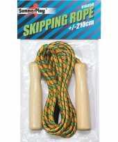 Springtouw gekleurd 210 cm met houten handvatten speelgoed trend