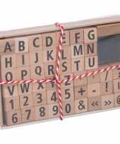 Stempelset alfabet met nummers en tekens hout 49 delig trend